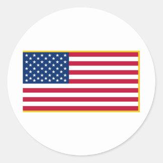 Bandera marítima franjada oro de Estados Unidos el Pegatina Redonda