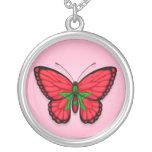 Bandera marroquí de la mariposa en rosa colgante personalizado