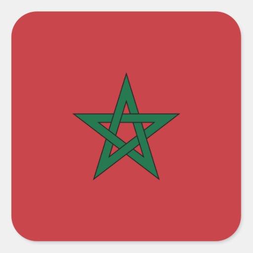 Bandera marroquí pegatina cuadrada