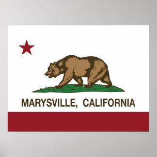Bandera Marysville de la república de California Posters