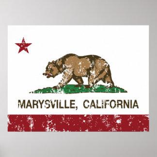 Bandera Marysville de la república de California Poster