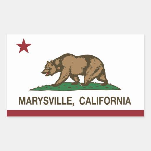 Bandera Marysville de la república de California Pegatina Rectangular