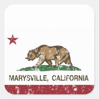 Bandera Marysville de la república de California Pegatina Cuadrada