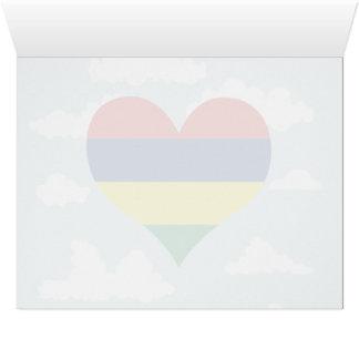 Bandera mauriciana en un fondo nublado
