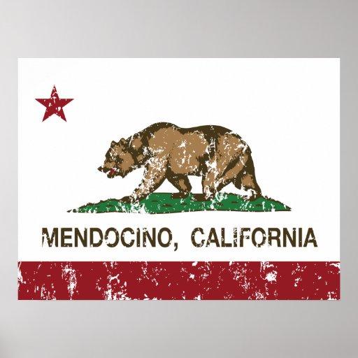 Bandera Mendocino de la república de California Impresiones