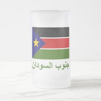Bandera meridional de Sudán con nombre en árabe Tazas