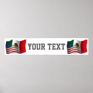 Bandera mexicana-americano de la bandera que agita póster