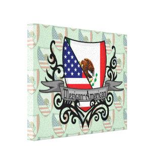 Bandera mexicana-americano del escudo impresión en lienzo