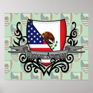 Bandera mexicana-americano del escudo poster