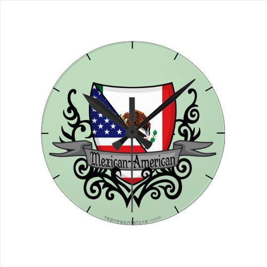 Bandera mexicana-americano del escudo reloj redondo mediano