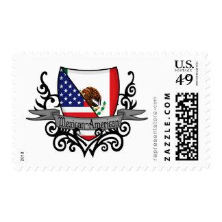 Bandera mexicana-americano del escudo franqueo