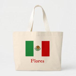 Bandera mexicana de Flores Bolsa Tela Grande