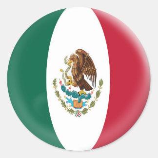 bandera mexicana de México de 20 pequeños Pegatina Redonda