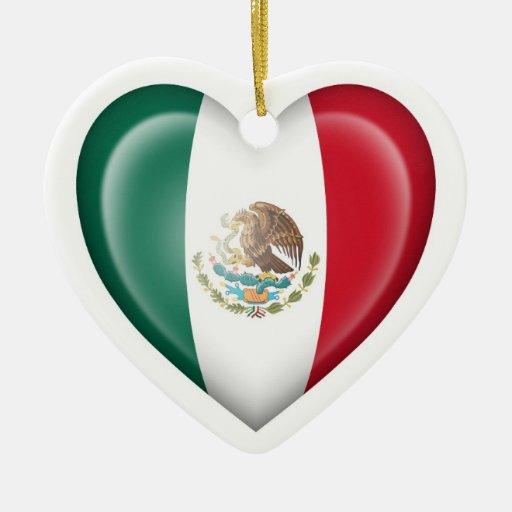 Bandera mexicana del corazón en blanco adorno de reyes