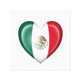 Bandera mexicana del corazón en blanco impresiones en lienzo estiradas
