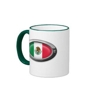Bandera mexicana en el marco de acero tazas de café
