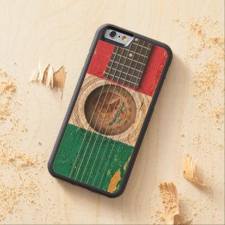 Bandera mexicana en la guitarra acústica vieja funda de iPhone 6 bumper arce