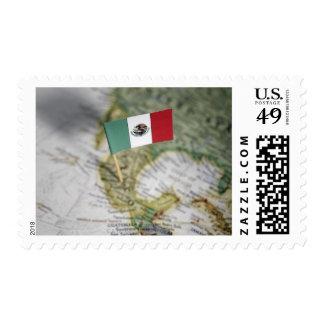 Bandera mexicana en mapa sello