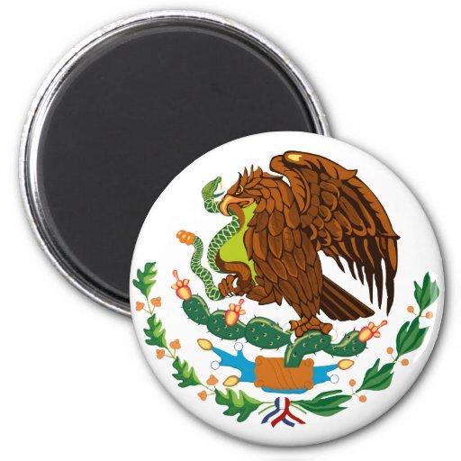 Bandera mexicana/escudo de armas mexicano imán de nevera