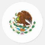 Bandera mexicana/escudo de armas mexicano etiquetas redondas