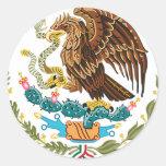 BANDERA MEXICANA - ESTILO DE MÉXICO - ESCUDO DE PEGATINA REDONDA