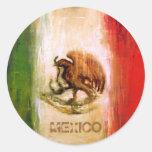 BANDERA MEXICANA - ESTILO DE MÉXICO PEGATINA REDONDA