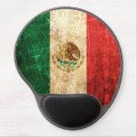 Bandera mexicana rasguñada y llevada del vintage alfombrilla de ratón con gel