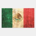 Bandera mexicana rasguñada y llevada del vintage rectangular pegatinas