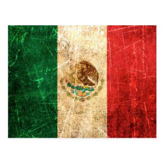 Bandera mexicana rasguñada y llevada del vintage tarjetas postales