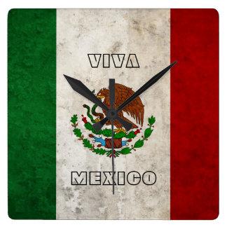 Bandera mexicana reloj cuadrado