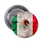 Bandera mexicana resistida pin redondo de 2 pulgadas