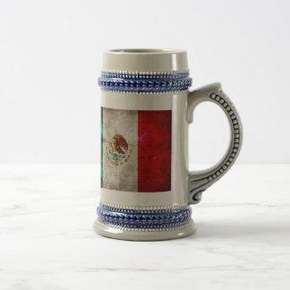 Bandera mexicana resistida taza de café