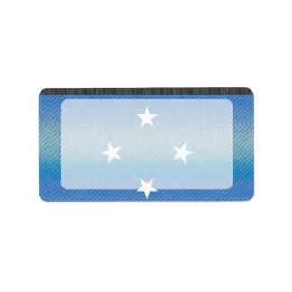 Bandera micronesia pelada moderna etiquetas de dirección