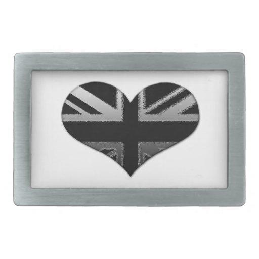Bandera moderna del corazón de Union Jack Hebilla De Cinturón