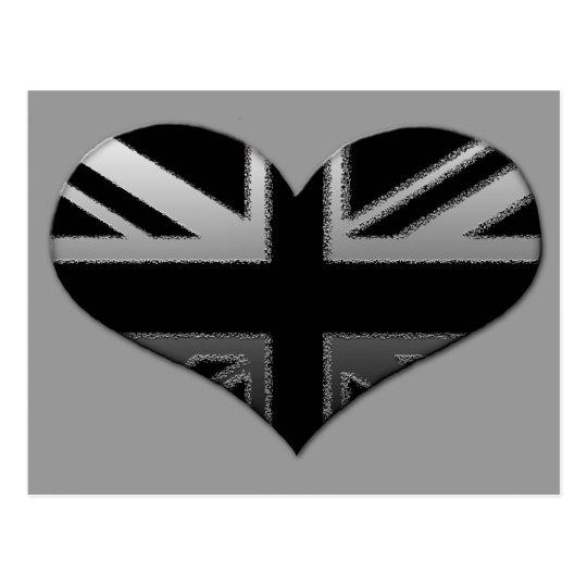 Bandera moderna del corazón de Union Jack Tarjetas Postales