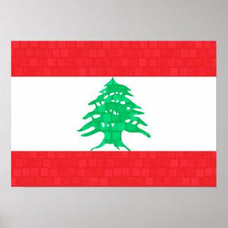 Bandera moderna del libanés del modelo póster