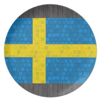 Bandera moderna del sueco del modelo plato de comida