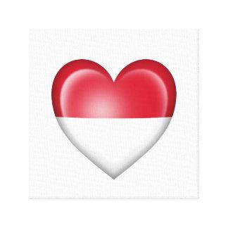 Bandera Monacan del corazón en blanco Impresión En Lona Estirada