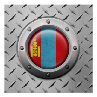 Bandera mongol industrial con el gráfico de acero