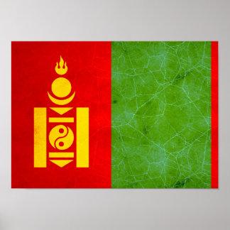 Bandera mongol nerviosa moderna poster