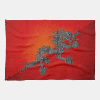 Bandera monocromática de Bhután Toallas De Cocina