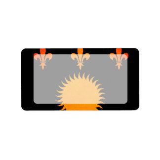 Bandera monocromática de Guadalupe Etiqueta De Dirección