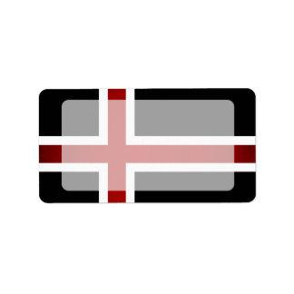 Bandera monocromática de Islandia Etiqueta De Dirección