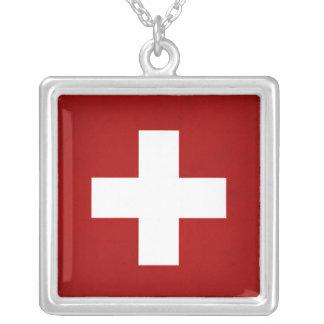 Bandera monocromática de Suiza Colgante Cuadrado
