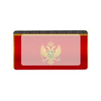 Bandera montenegrina pelada moderna etiquetas de dirección