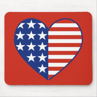Bandera Mousepad del corazón de los E.E.U.U. Tapetes De Raton