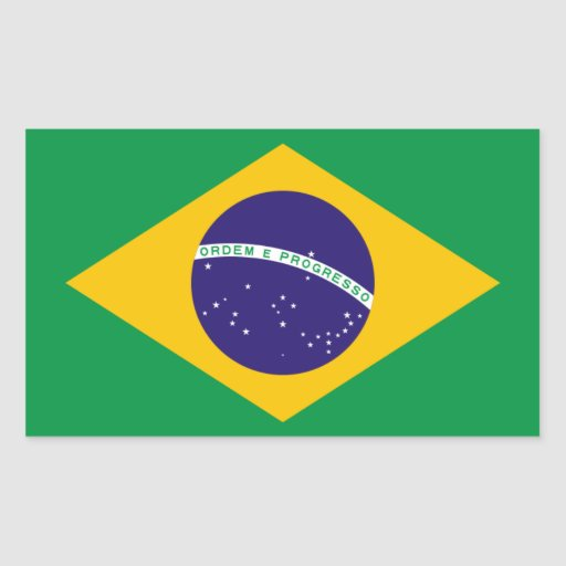Bandera nacional de CUATRO el Brasil Pegatina Rectangular