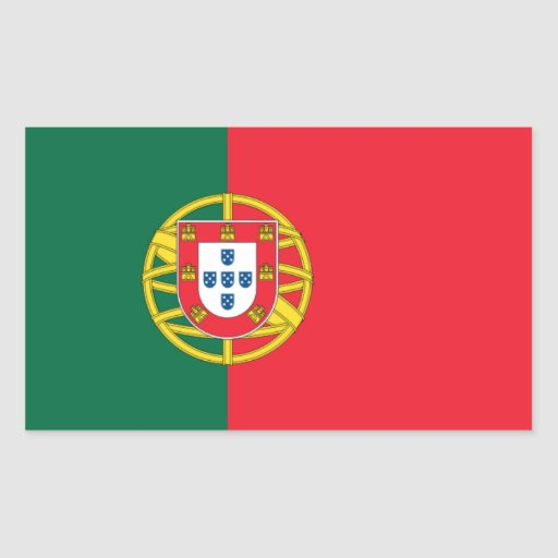Bandera nacional de CUATRO Portugal Pegatina Rectangular
