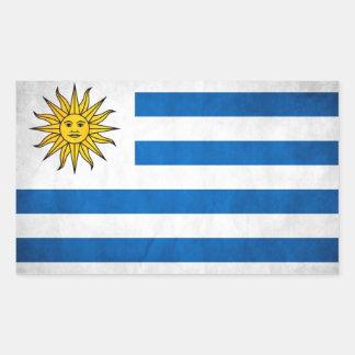 Bandera nacional de CUATRO Uruguay Pegatina Rectangular