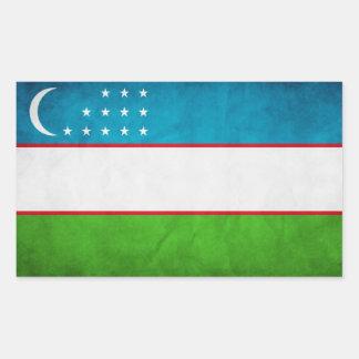 Bandera nacional de CUATRO Uzbekistán Pegatina Rectangular